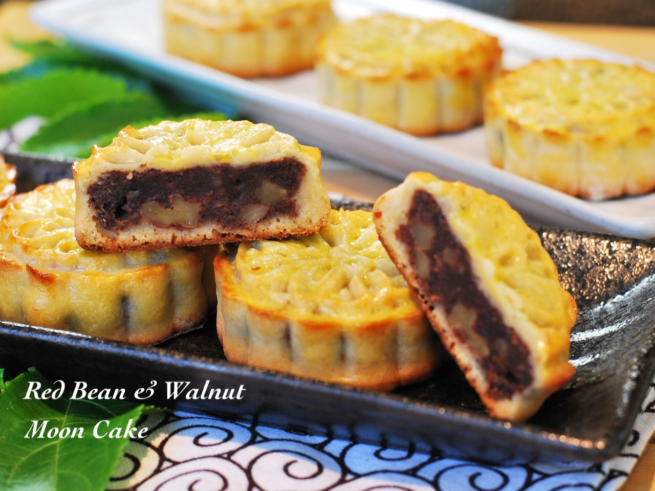 Red bean walnut moon cake