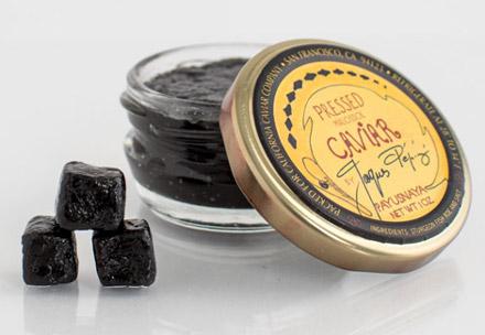 壓縮過的魚子醬(pressed caviar)為膏狀或塊狀