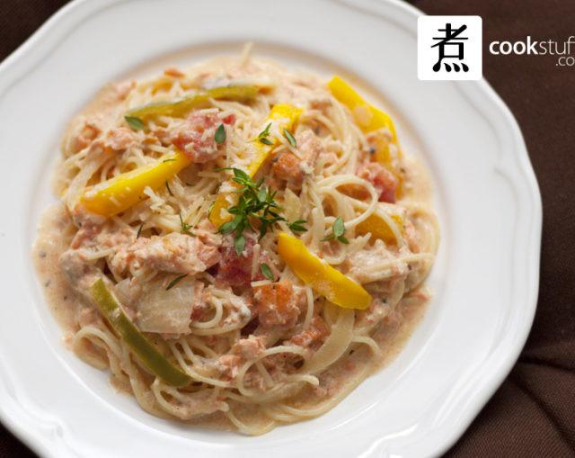 鮭魚百里香奶油天使麵